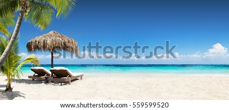 Chairs And Umbrella In Palm Beach - Tropical Holiday Banner #559599520