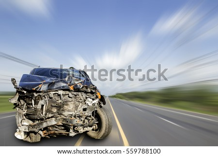 Car of accident make front windshield cracked and airbag explosion damaged at claim the insurance company. Double exposure car accident and road on cityscape.  Image blur focus  style. #559788100