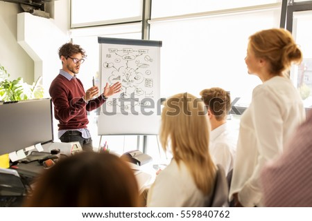 business, startup, presentation, strategy and people concept - man showing scheme on flipboard to creative team at office Royalty-Free Stock Photo #559840762