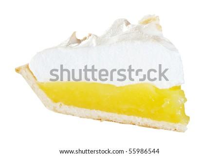 isolated lemon meringue pie slice