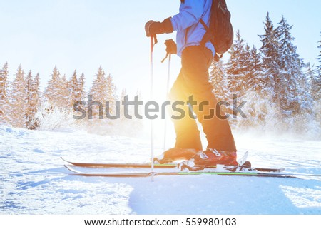 skiing downhill, skier in winter forest mountains, background #559980103