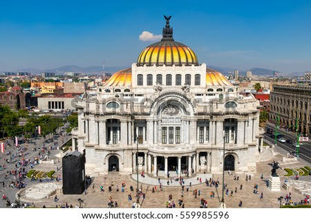 Palacio de Bellas Artes or Palace of Fine Arts at the historic center of Mexico City #559985596