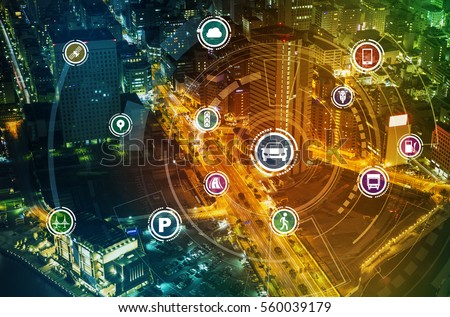 Smart transportation technology concept, smart city, Internet of things, vehicle to vehicle, vehicle to infrastructure, vehicle to pedestrian, abstract image visual #560039179