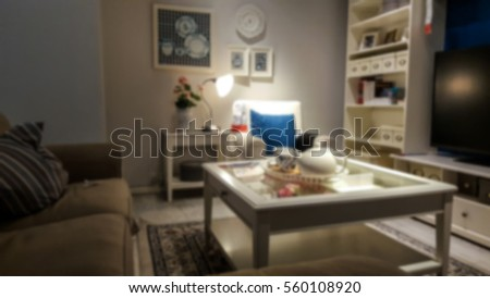 Blurry and soft focus of living room kitchen and dining room interior #560108920