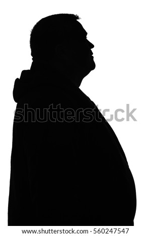 black and white portrait of the silhouette of paunchy good positive men #560247547