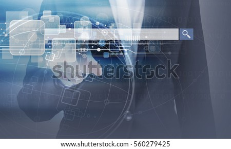 Double exposure of business woman hand touching blank search bar and technology design
