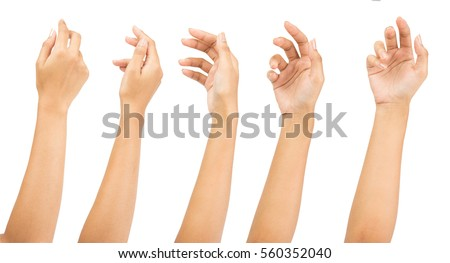 Collage of woman holding on white backgrounds Royalty-Free Stock Photo #560352040