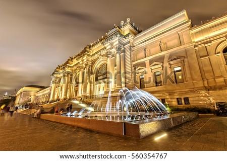 The Metropolitan Museum of Art in New York at Night Royalty-Free Stock Photo #560354767