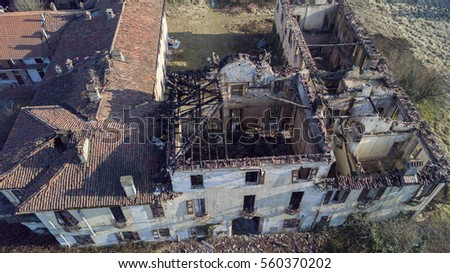 Villa of the eighteenth century European style after the fire that has burned. Villa Medolago Rasini, Limbiate January 18, 2017, aerial view of the '700 villa after the fire of January 6.  #560370202