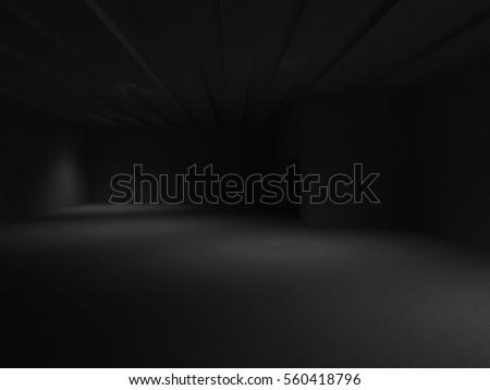 dark room black empty floor wall concrete interior 3d #560418796