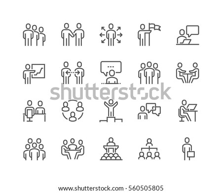 Simple Set of Business People Related Vector Line Icons.  Contains such Icons as One-on-One Meeting, Workplace, Business Communication, Team Structure and more. Editable Stroke. 48x48 Pixel Perfect. Royalty-Free Stock Photo #560505805