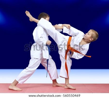 Sportsmen friends are training blows #560550469