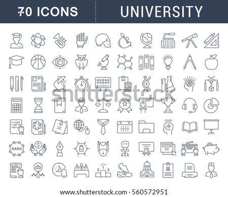 Set vector line icons, sign and symbols in flat design university, e-learning and science with elements for mobile concepts and web apps. Collection modern infographic logo and pictogram. Royalty-Free Stock Photo #560572951
