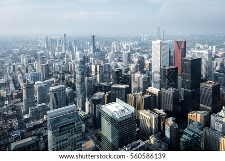 Aerial view of modern skyscrapers and office buildings in Toronto financial district, Ontario, Canada.