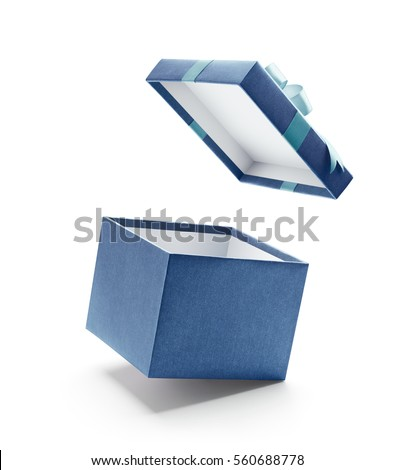 Blue open gift box isolated on white background Royalty-Free Stock Photo #560688778
