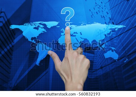 Hand pressing question mark sign icon over map and city tower, Customer support concept, Elements of this image furnished by NASA