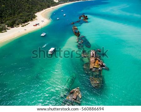 An aerial view of the Shipwrecks on Moreton Island, Queensland, Australia #560886694