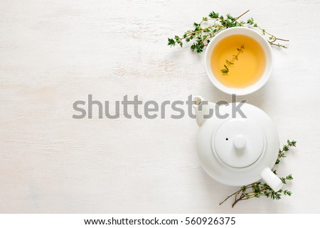 Thyme herbal tea, view from  above, space for a text #560926375