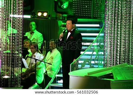 KIEV, UKRAINE - 26 March 2011: The USSR People's Artist Iosif Kobzon, the legendary Soviet singer at a concert. Persona non-grant in Ukraine #561032506