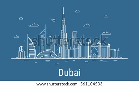 Dubai city line art Vector illustration with all famous towers. Cityscape. Royalty-Free Stock Photo #561104533