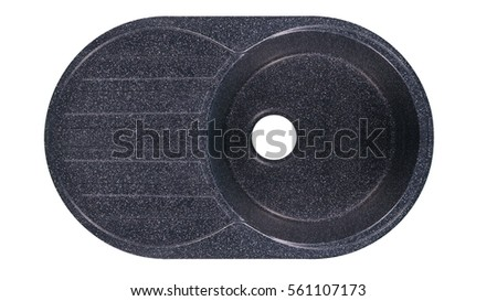 black sink for the kitchen of granite on a white background top view #561107173