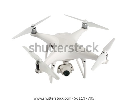 Drone with camera isolated on white background  #561137905