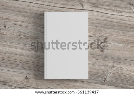Blank white book cover on wooden background. Isolated with clipping path. 3d render