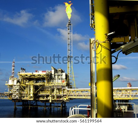 Offshore construction platform for production oil and gas. Oil and gas industry and hard work. Production platform and operation process by manual and auto function from control room. #561199564
