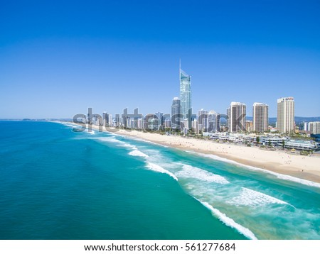 An aerial view of the Surfers Paradise skyline on a clear day in Queensland, Australia #561277684