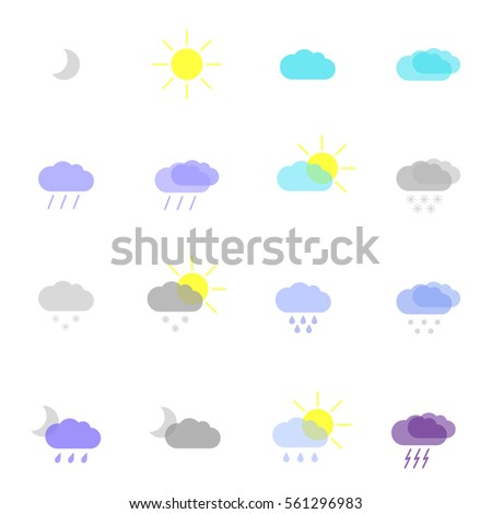 set with weather icons in different color #561296983