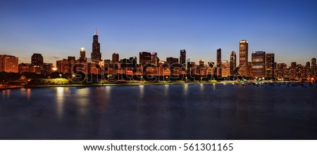 Chicago Skyline at Night over Lake Michigan #561301165