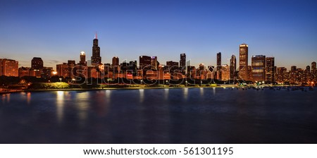 Chicago Skyline at Night over Lake Michigan #561301195