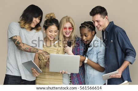 Friends Using Tablet Technology Phone #561566614
