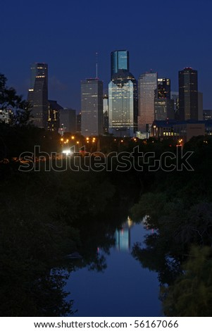 A look at the bayou city at nightfall - Houston, Texas