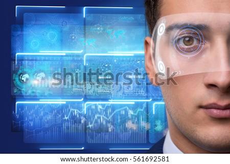 Futuristic vision concept with businessman #561692581