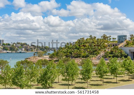 Barangaroo Reserve is the park at Millers Point on the north-western tip of Sydney's Central Business District. Royalty-Free Stock Photo #561731458