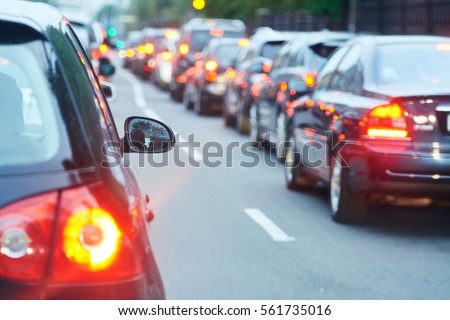 traffic jam in a city street road Royalty-Free Stock Photo #561735016