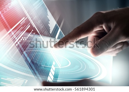 Businessman hand touching with finger virtual panel with infographs #561894301