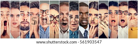 Multiethnic group of scared people  Royalty-Free Stock Photo #561903547
