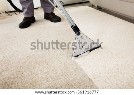 Close-up Of A Person Cleaning Carpet With Vacuum Cleaner Royalty-Free Stock Photo #561916777