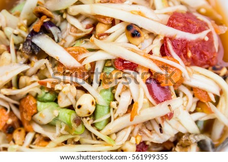 papaya salad put crab food local Thailand background  #561999355
