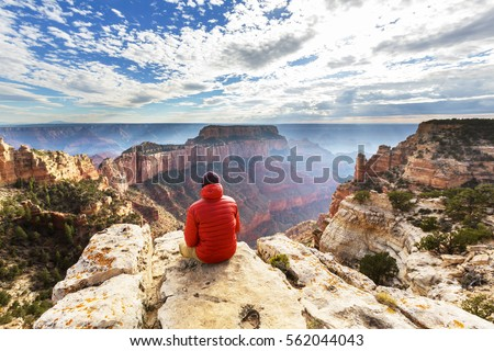 Hike in Grand Canyon National Park Royalty-Free Stock Photo #562044043