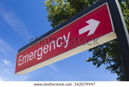 Sign outside the emergency room of a hospital