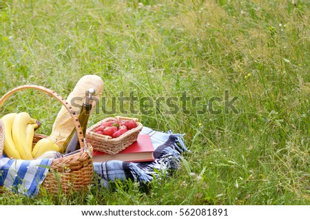 Picnic basket with fruits wine and bread on the grass with book and strawberry aside #562081891