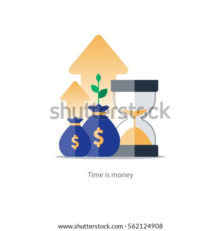 Compound interest, time is money, financial investments in stock market future income growth, revenue increase, money return, pension fund plan, budget management, savings account, banking vector icon #562124908