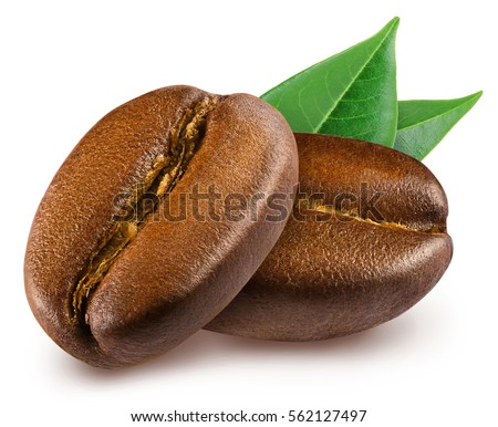 Two shiny fresh roasted coffee beans with leaves isolated on white background. #562127497