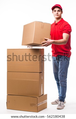 Delivery man with boxes.