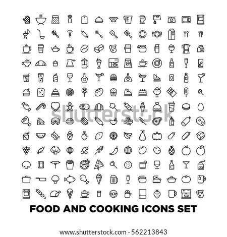 Food and cooking icons set Royalty-Free Stock Photo #562213843
