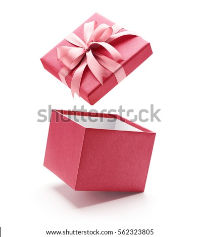Pink open gift box isolated on white background  Royalty-Free Stock Photo #562323805