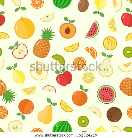 Vector fruits and slice seamless pattern with watermelon apple orange pineapple #562324219